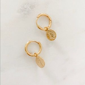 16k Gold Plated Coin Small Hoop Earrings